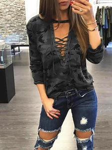 Camouflage Strap Sexy Long Sleeved T-Shirt