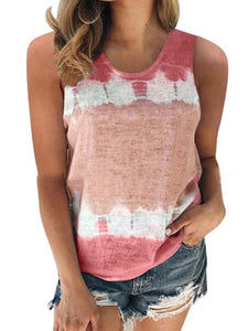 Casual Loose Crew Neck Printed Vest