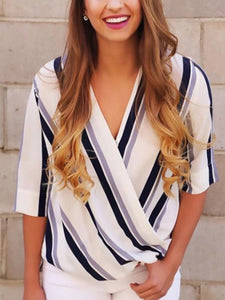 Casual Loose V-Neck Striped T-Shirt