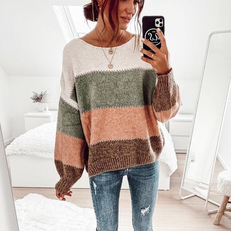 Casual Multicolor Pullover Long Sleeve Sweater