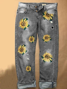Casual Plus Size Women Sunflower Embroidery Jeans