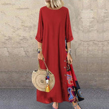 Load image into Gallery viewer, Casual Round Neck Button Bracelet Sleeve Splicing Dress