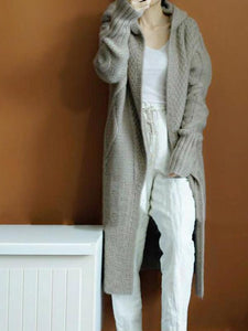 Casual Sweater with Cashmere Cardigan Hooded Long
