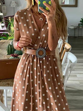 Load image into Gallery viewer, Casual V Neck Polka Dot Short Sleeve Maxi Dress