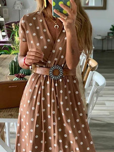 Casual V Neck Polka Dot Short Sleeve Maxi Dress