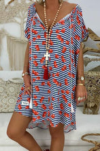 Load image into Gallery viewer, Casual V Neck Short Sleeve Loose Stripe Printed Colour Dress