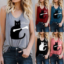 Load image into Gallery viewer, Cat Print Vest Top T-shirt
