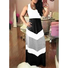 Color Block Sleeveless A-line Casual/Plus Size Maxi Dresses