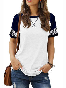 Colorblock Striped Short Sleeve Casual T-shirts