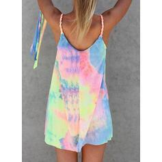 Colorful Dye Printed Mini Vacation Dress