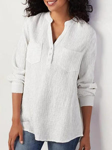 Cotton And Linen Long Sleeved Blouse