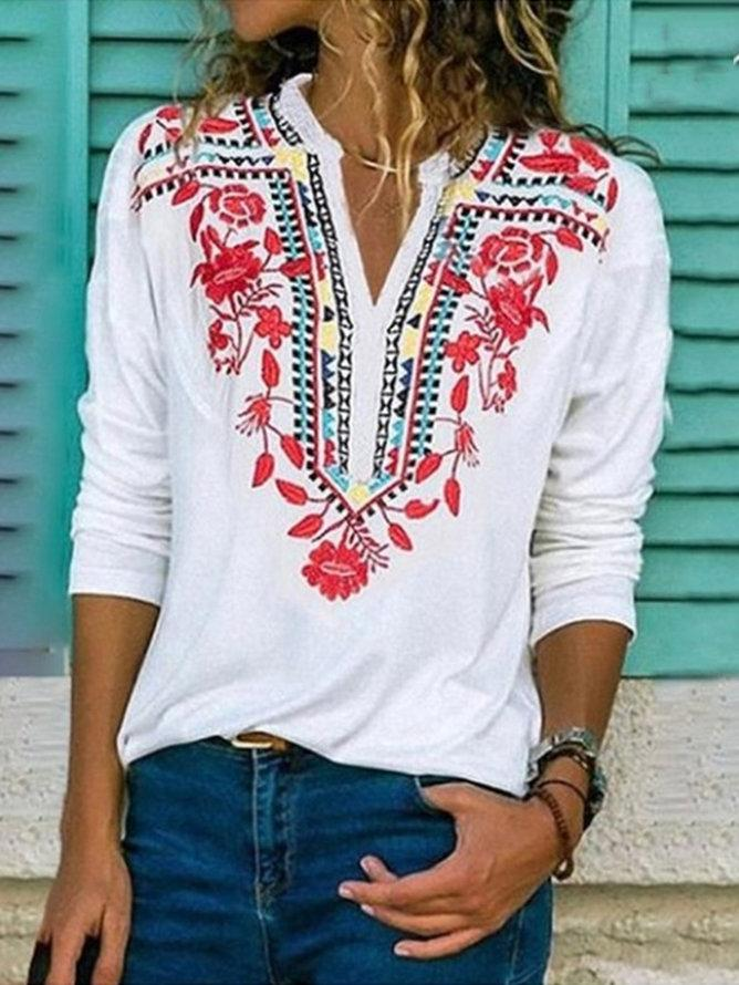 Cotton-Blend Long Sleeve Vintage Shift Shirts & Tops