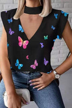 Load image into Gallery viewer, Cristalove Bib V Neck Butterfly Top