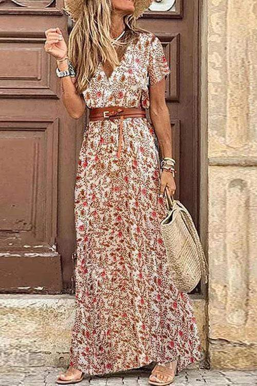 Cristalove Boho Floral High Split Maxi Dress