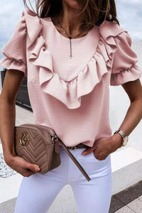 Cristalove Bubble Sleeves Ruffle V Top