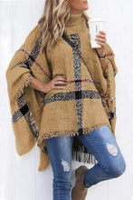 Load image into Gallery viewer, Cristalove Burberry Print Cloak Poncho Sweater