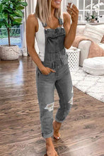 Load image into Gallery viewer, Cristalove Denim Ripped Overalls Jumpsuit