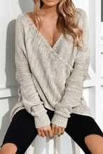 Load image into Gallery viewer, Cristalove Front Cross V Neck Sweater