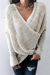 Cristalove Front Cross V Neck Sweater
