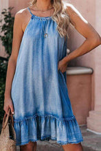 Load image into Gallery viewer, Cristalove Halter Neck Flounce Denim Dress