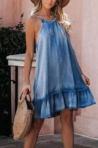 Cristalove Halter Neck Flounce Denim Dress