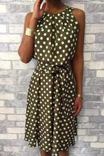 Load image into Gallery viewer, Cristalove Halter Neck Polka Dot Mini Dress