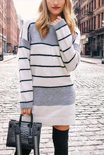 Load image into Gallery viewer, Cristalove Kitting Striped Mini Sweater Dress