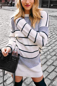 Cristalove Kitting Striped Mini Sweater Dress