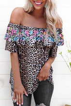 Load image into Gallery viewer, Cristalove Leopard Flower Print Top