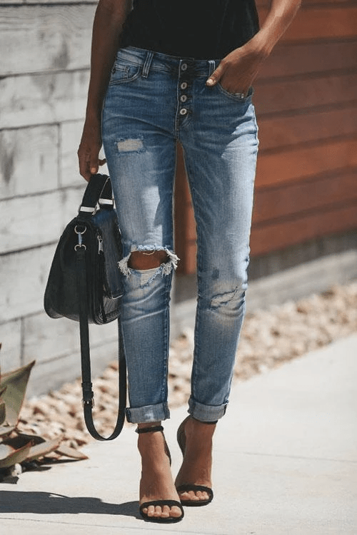 Cristalove Liv Ripped Denim Jeans