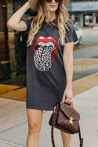 Cristalove Naughty Lip T-shirt Dress