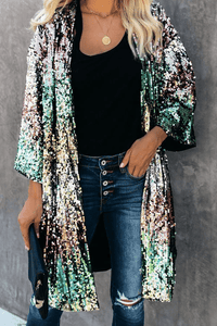 Cristalove Rainbow Multicolor Sequin Cardigan