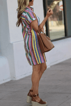 Load image into Gallery viewer, Cristalove Rainbow Striped Long Shirt Dress