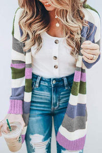 Cristalove Rainbow Striped Sweater Cardigan