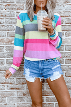 Load image into Gallery viewer, Cristalove Rainbow Striped Top T-shirt