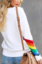 Load image into Gallery viewer, Cristalove Rainbow Striped White Sweater