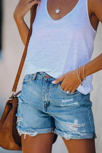 Cristalove Ripped Curl Denim Shorts