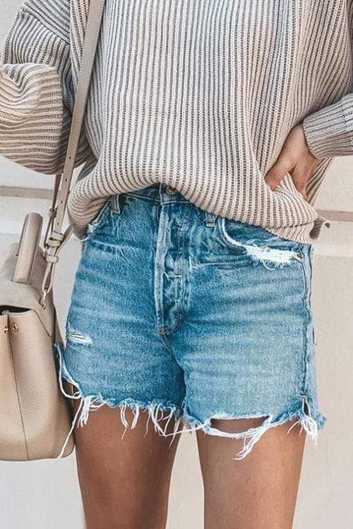 Cristalove Ripped Hot Pants Jeans