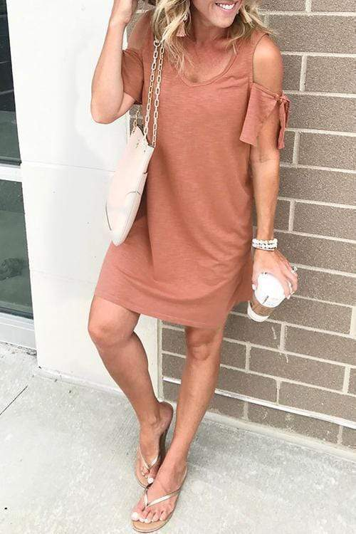 Cristalove Ruffle Off Shoulder Dress