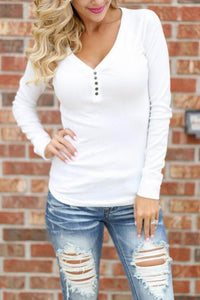 Cristalove Simple Button V Neck T-shirt