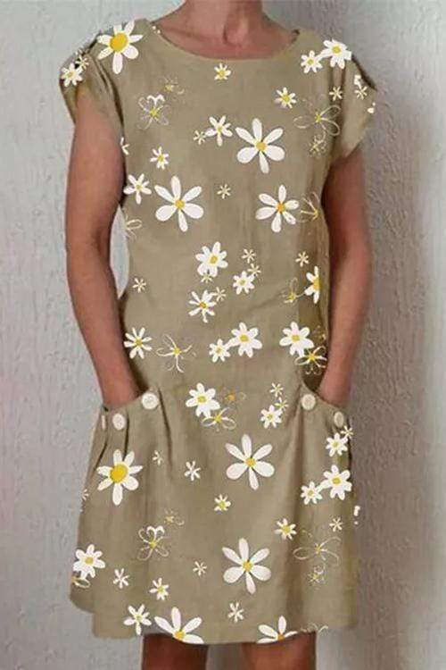 Cristalove Small Daisies Pocket Mini Dress