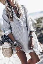 Load image into Gallery viewer, Cristalove Street Fashion Striped Shirt Dress