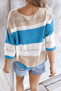 Cristalove Striped Hollow Flimsy Sweater