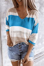 Load image into Gallery viewer, Cristalove Striped Hollow Flimsy Sweater
