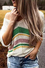Load image into Gallery viewer, Cristalove Striped Knitting Flimsy Top