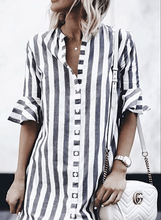 Load image into Gallery viewer, Cristalove Striped Vintage Button Up Shirt Dress