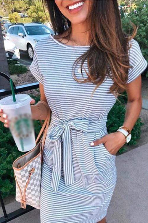 Cristalove Striped Waist Knot Mini Dress