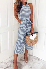 Load image into Gallery viewer, Cristalove Striped Wide Leg Knot Jumpsuit