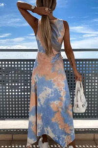 Cristalove Tie Dye Split Fashion Dress