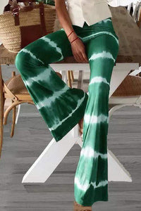 Cristalove Tie Dye Striped Flare Pants